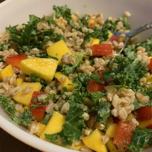 vegan farro mango salad