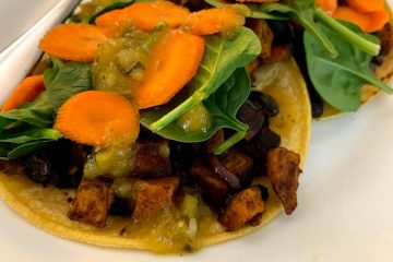 vegan black bean sweet potato tostados