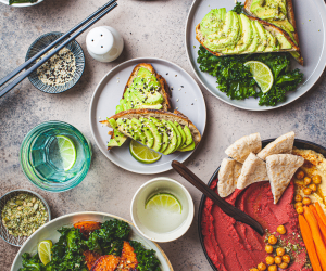 different plates on a vegan brunch table